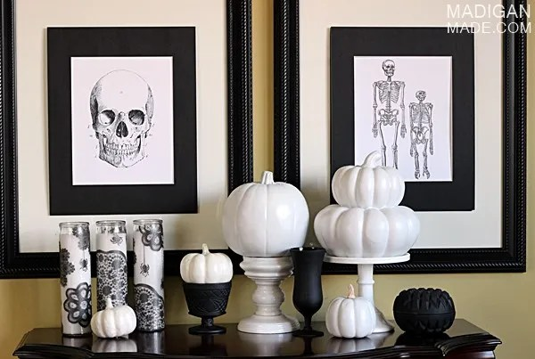 Vintage black and white Halloween decorations