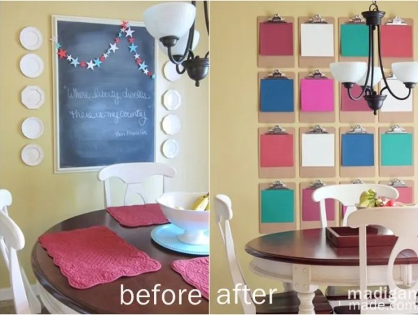 Chalkboard to DIY Clipboard Wall Art - details  at madiganmade.com