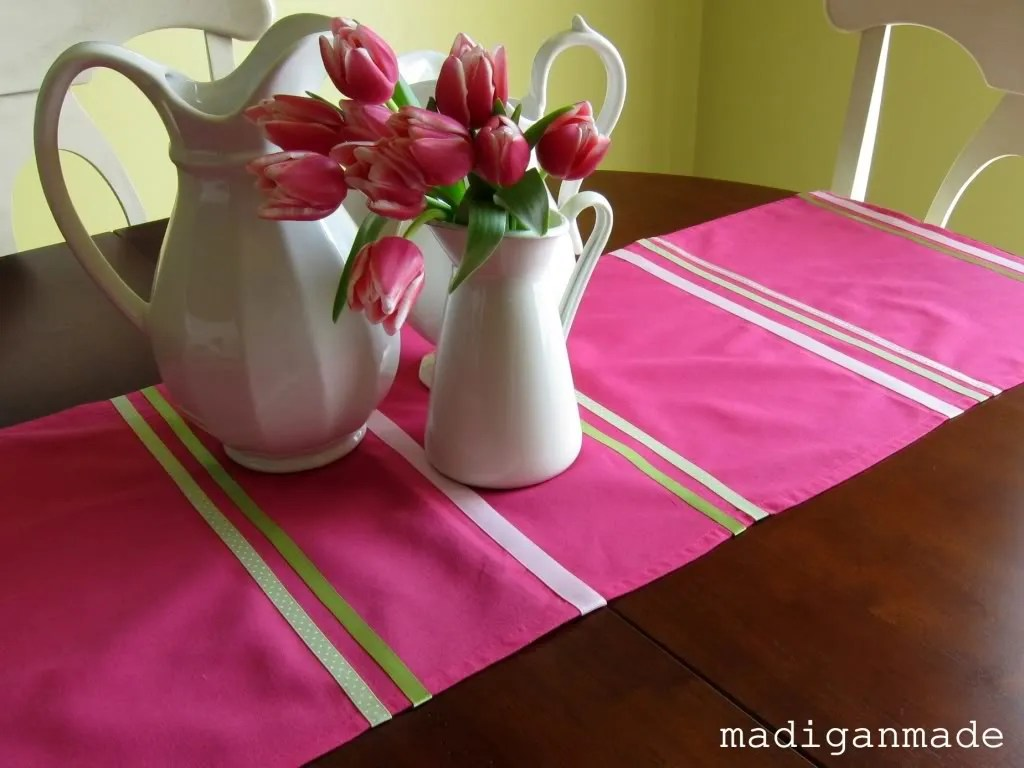 My No Sew Dollar Store Pink Table Runner Rosyscription
