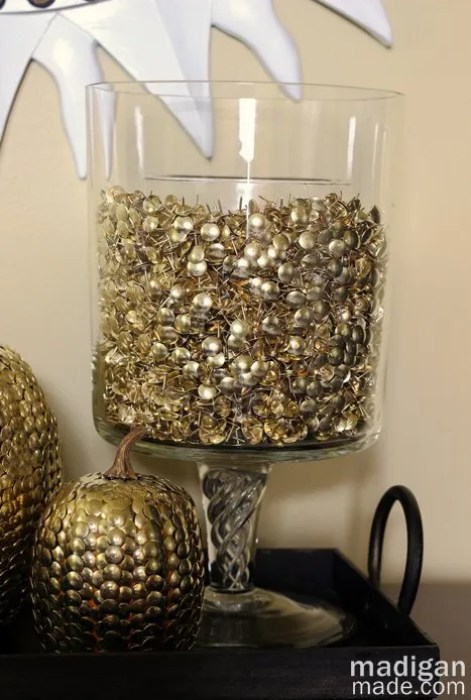 Elegant decor idea: thumbtack vase filler. - details at madiganmade.com