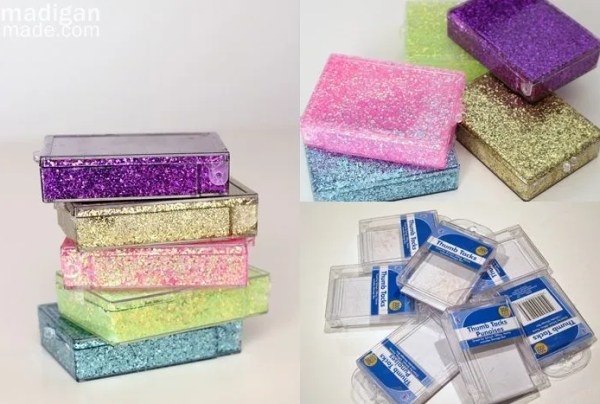 Turn plastic containers into sparkly storage or gifts - tutorial at madiganmade.com