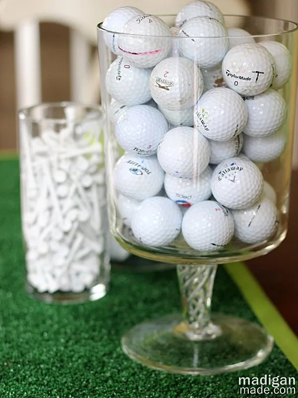 golf ball vase filler decoration idea