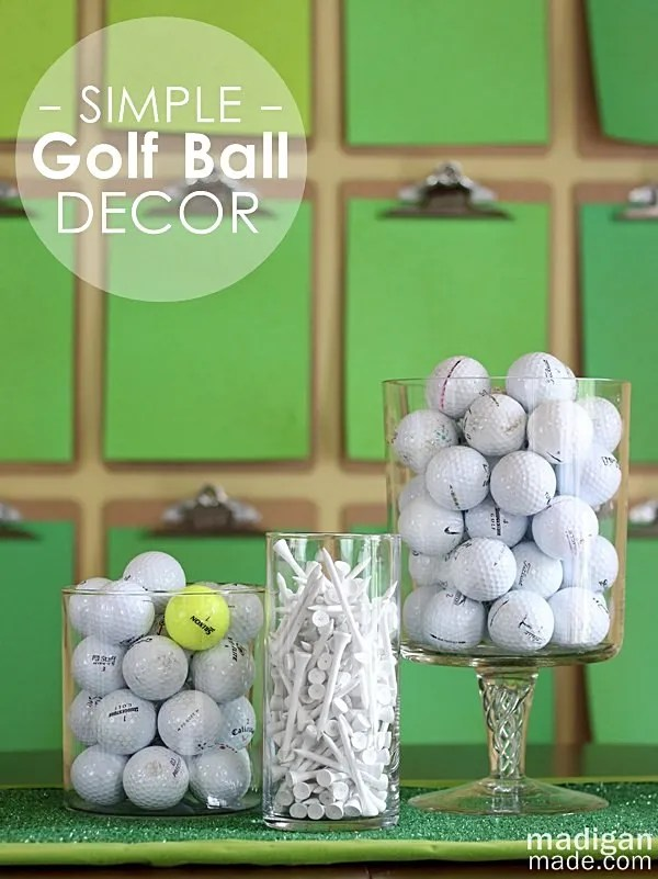Golf ball decor idea - fun for a sports room or golf themed party!