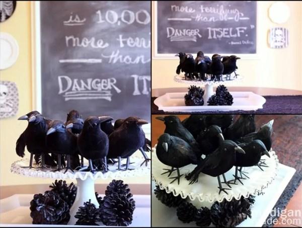 dollar store blackbirds centerpiece on milkglass for Halloween - madiganmade.com