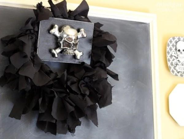 motorcycle-inspired skull rag wreath