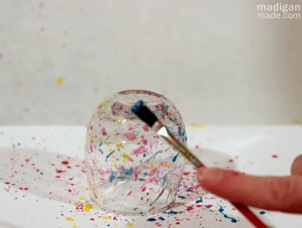 how to splatter paint glassware
