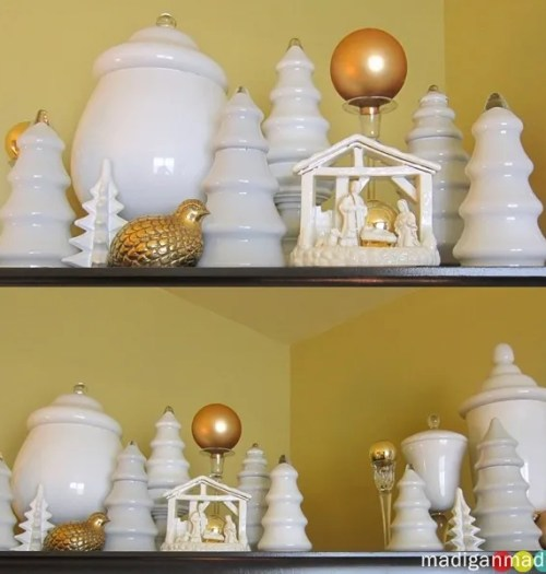 milkglass trees gold holiday mantel