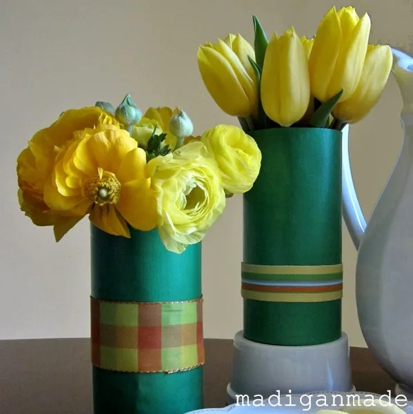 Paper And Ribbon Water Bottle Vase A Last Minute Mother S Day Idea Rosyscription