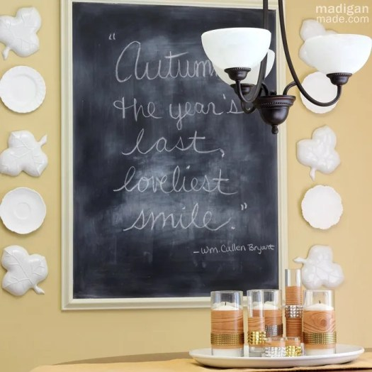 chalkboard quote, leaf plates and faux bois centerpiece - madiganmade.com