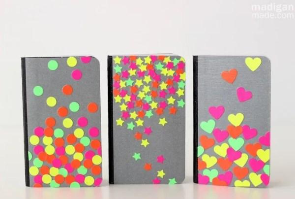 neon decoupaged notebooks