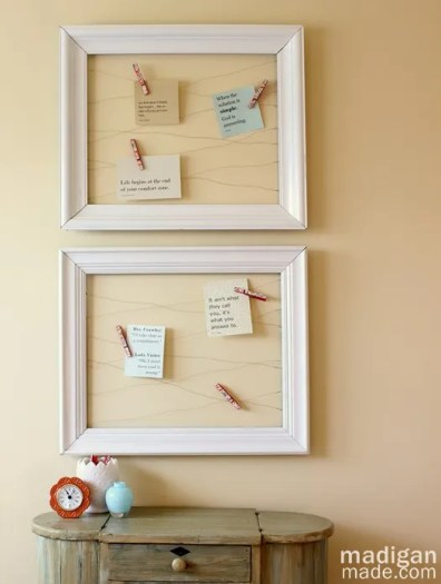 inspiration board with an open frame and wire -  madiganmade.com