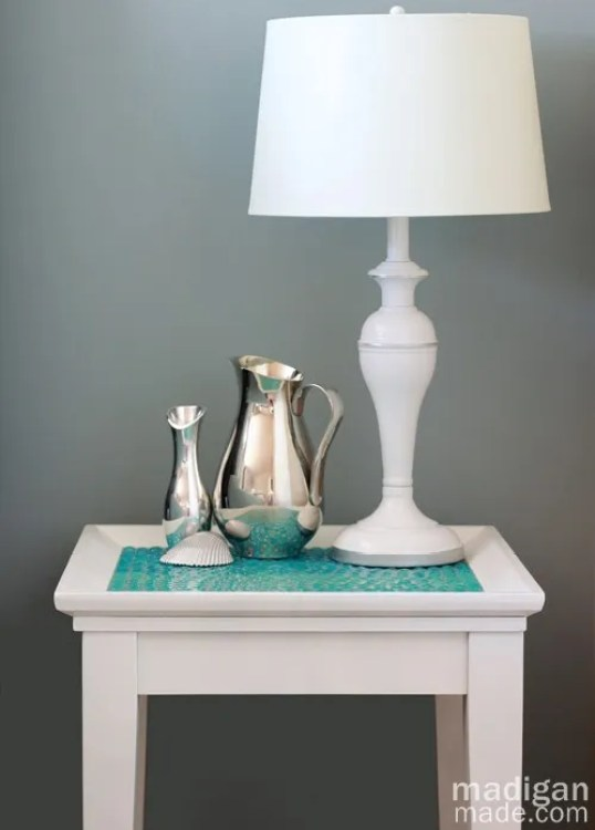 beachy, painted and tiled side table