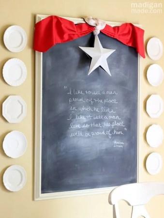 mini patriotic bunting across a chalkboard