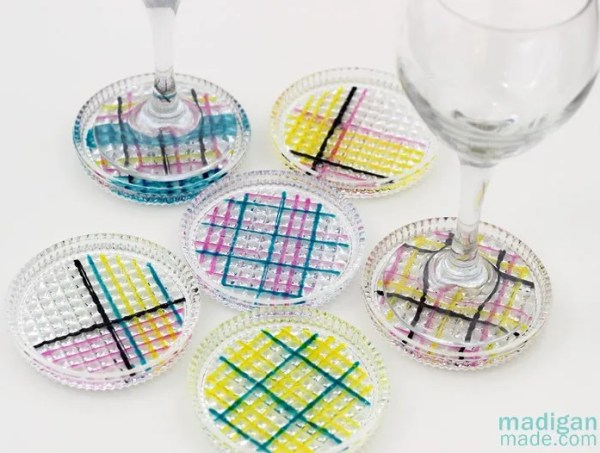 plaid painted glass coasters
