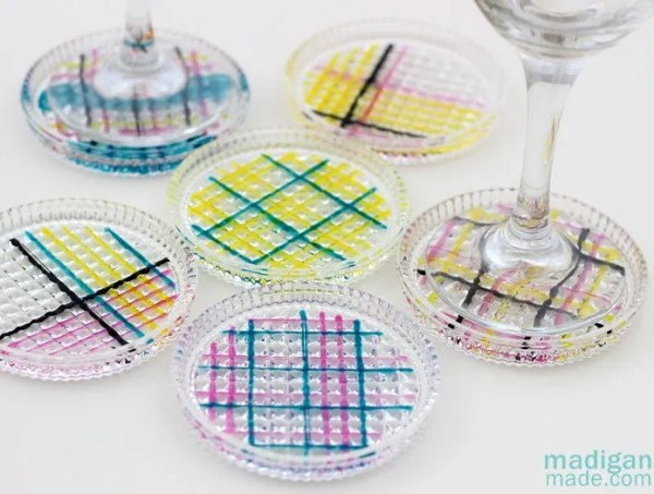 simple plaid painted glass coasters