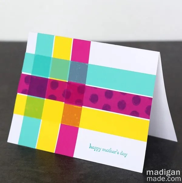 Easy homemade card: make a plaid pattern with washi tape