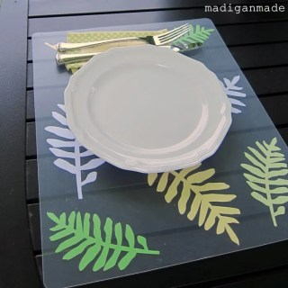 Leaf Place Mats from Plastic Chopping Mats