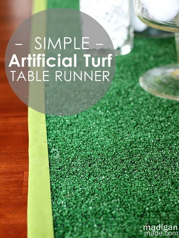 simple DIY artificial turf table runner craft