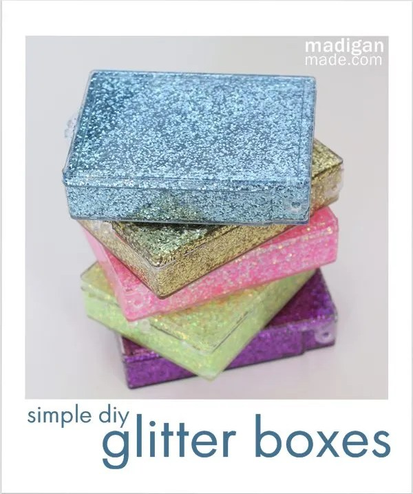 Simple glitter storage boxes - craft tutorial at madiganmade.com