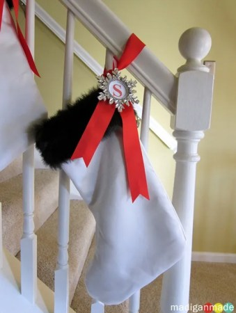 slipcover stockings with wedding dress fur trim