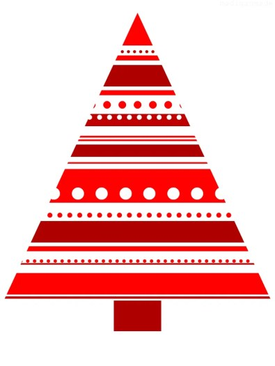 red and white christmas tree print