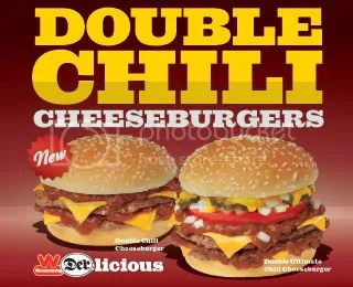 Wienerschnitzel Double Chili Cheeseburgers