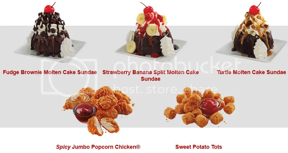 Sonic, America's Drive-In Sweet Potato Tots, Spicy Jumbo Popcorn Chicken, and Molten Cake Sundae