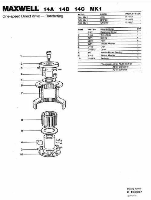 Maxwell # 14 winch diagram