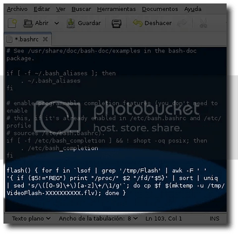 definir funcion y alias permanente en bashrc de linux