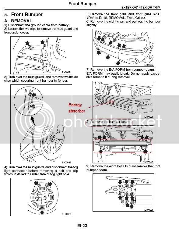 Service manual [Remove Front Bumper 2004 Subaru Forester