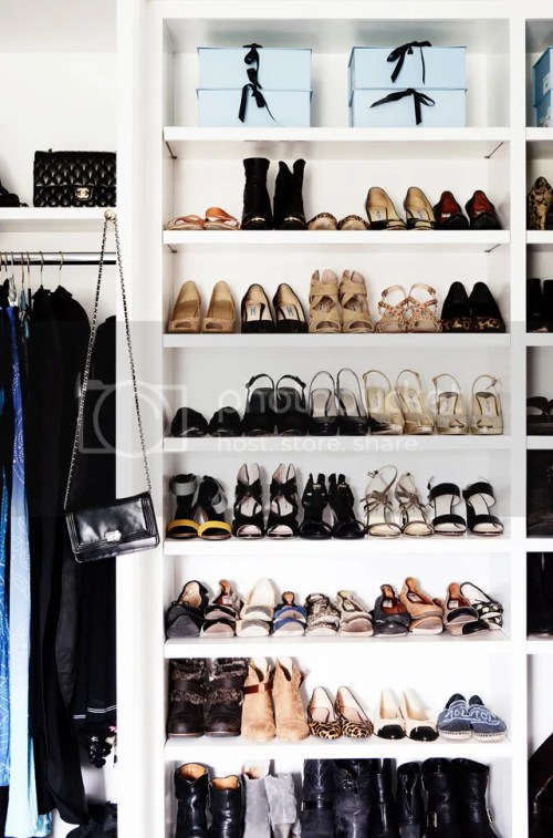 Closet Organization White Shelves with Shoes Purses Hanging Clothes Hat Boxes