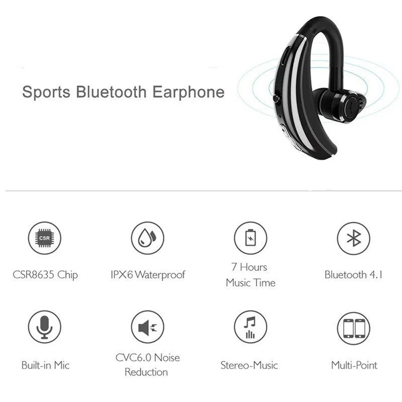 Wireless Bluetooth Headset Handsfree Earphone For iPhone