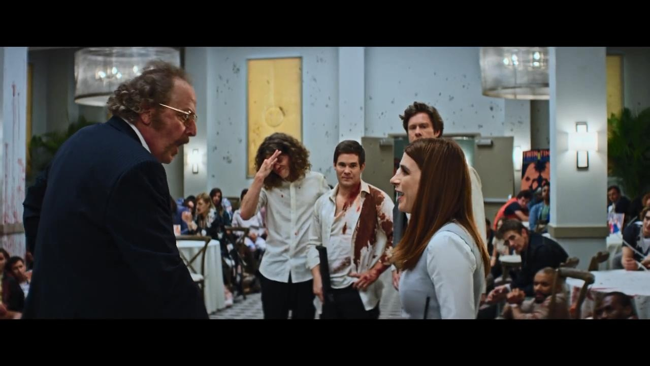 Daniel Stern, Aya Cash, Adam Devine, Anders Holm, and Blake Anderson in Game Over, Man! (2018)