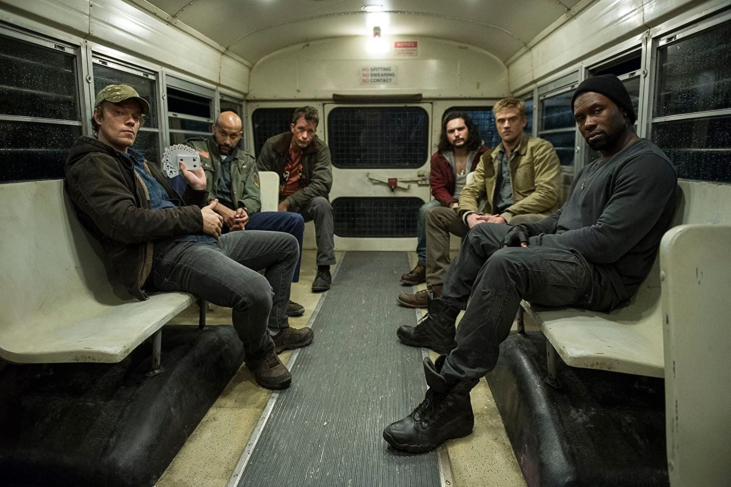 Thomas Jane, Alfie Allen, Keegan-Michael Key, Boyd Holbrook, Augusto Aguilera, and Trevante Rhodes in The Predator (2018)
