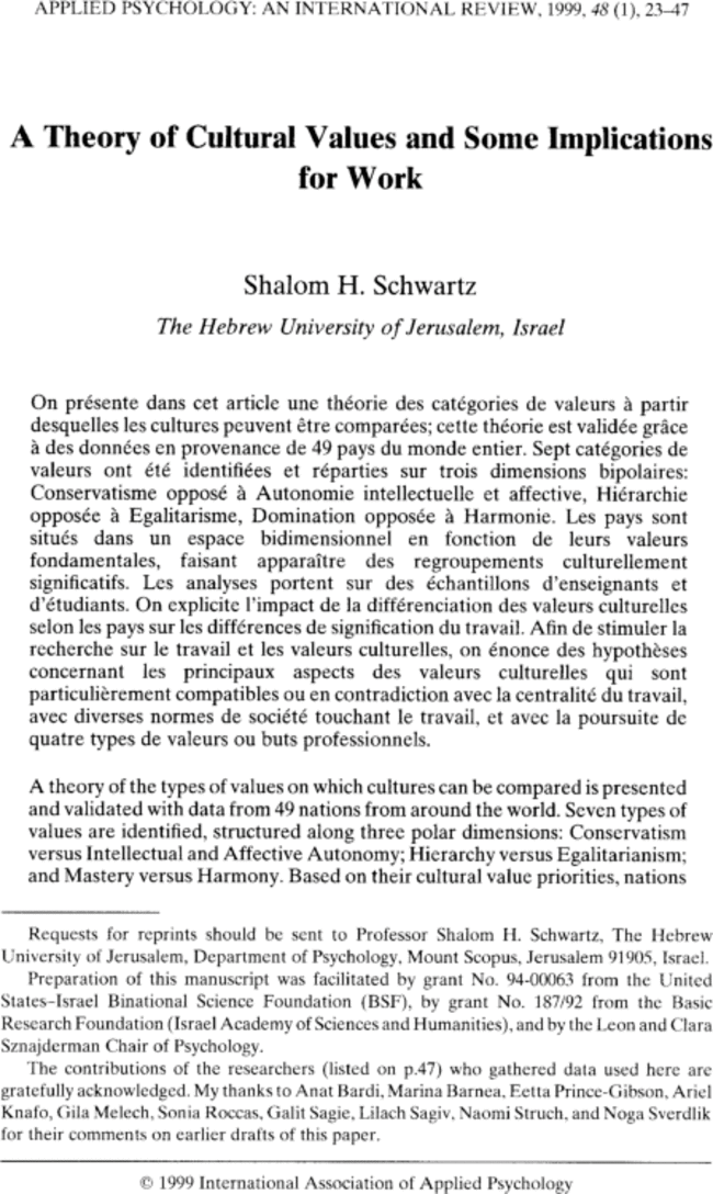 A Theory Of Cultural Values And Some Implications For Work Schwartz 1999 Applied Psychology Wiley Online Library