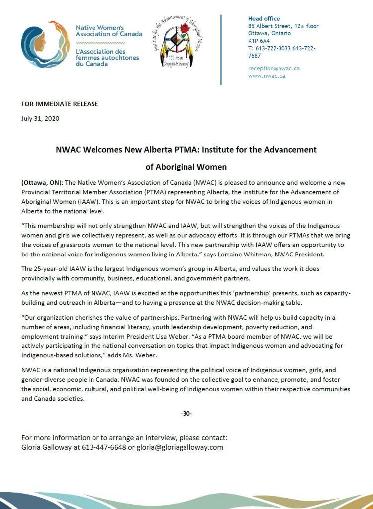 NWAC IAAW Alberta Provincial territorial member association
