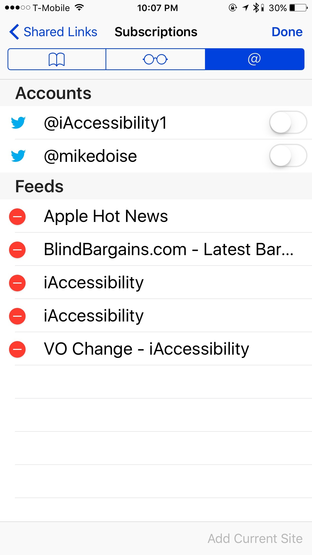 Subscriptions screen in iOS