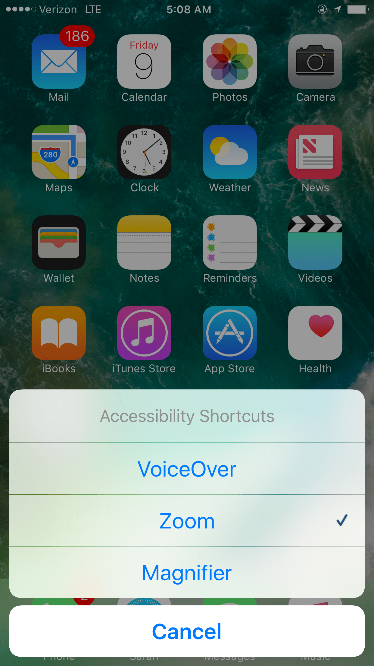 Image showing magnifier in accessibility shortcut menu.