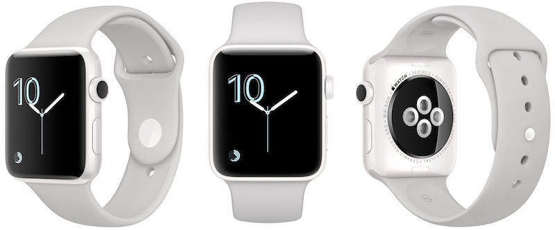 image showing three views of the same Apple Watch Series 2