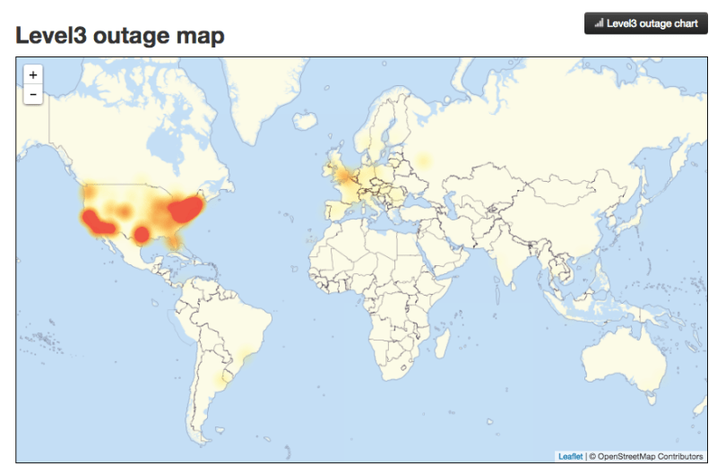 A map showing that much of Friday's Internet outage was over the US.