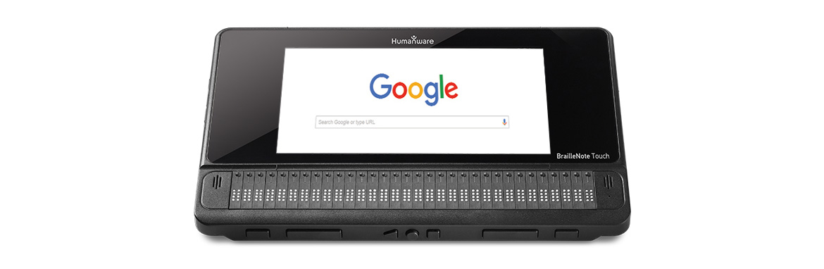 BrailleNote Touch with Google on the screen.