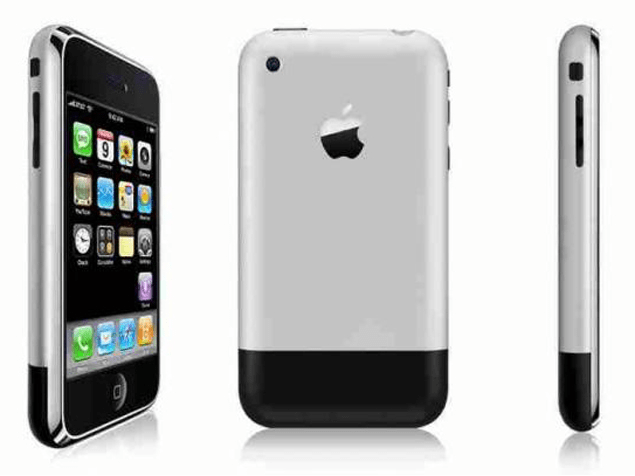 First iPhone from 3 angles front, back and side.