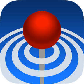 Around Me app icon dropped gps pin over blue circles
