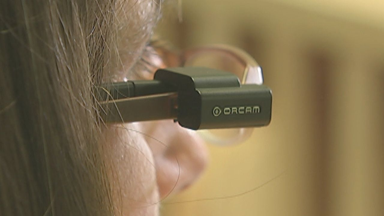 The OrCam camera on some glasses.