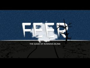Startup screen for the game Feer with background and words in middle of screen.