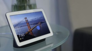 A side angle picture of a google home hub.