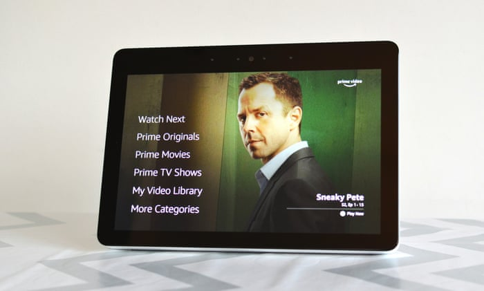 Picture of Echo show with text showing Amazon services.