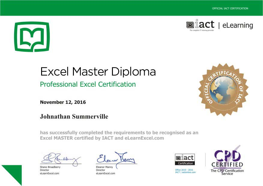 Excel Master Diploma Online IACT