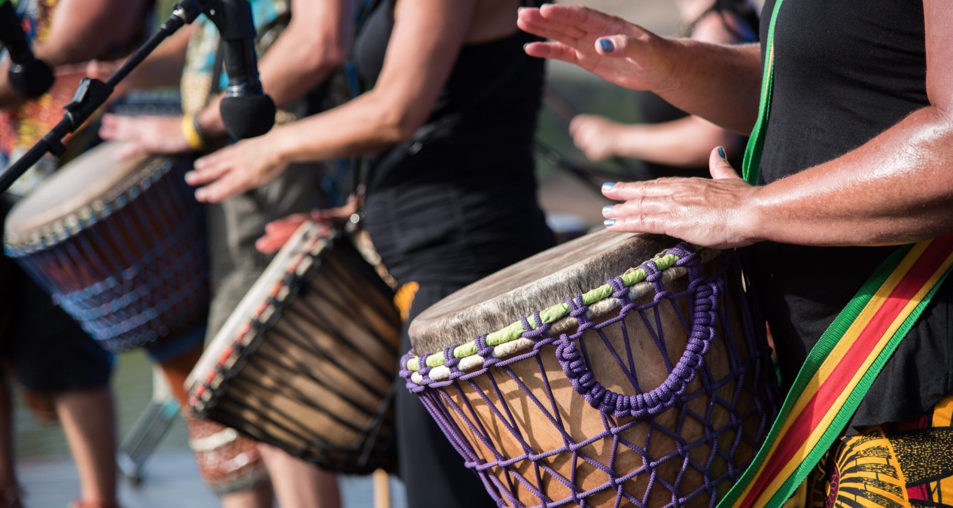 Playing for peace: Earthen Rhythms, a local african drumming group at the Summertime in Maitland