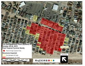 Figure 2: left) Map of fire limits in Breezy Point;